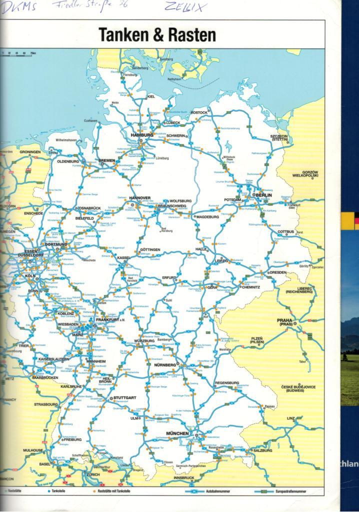 Отличная карта для автостопа в Германии