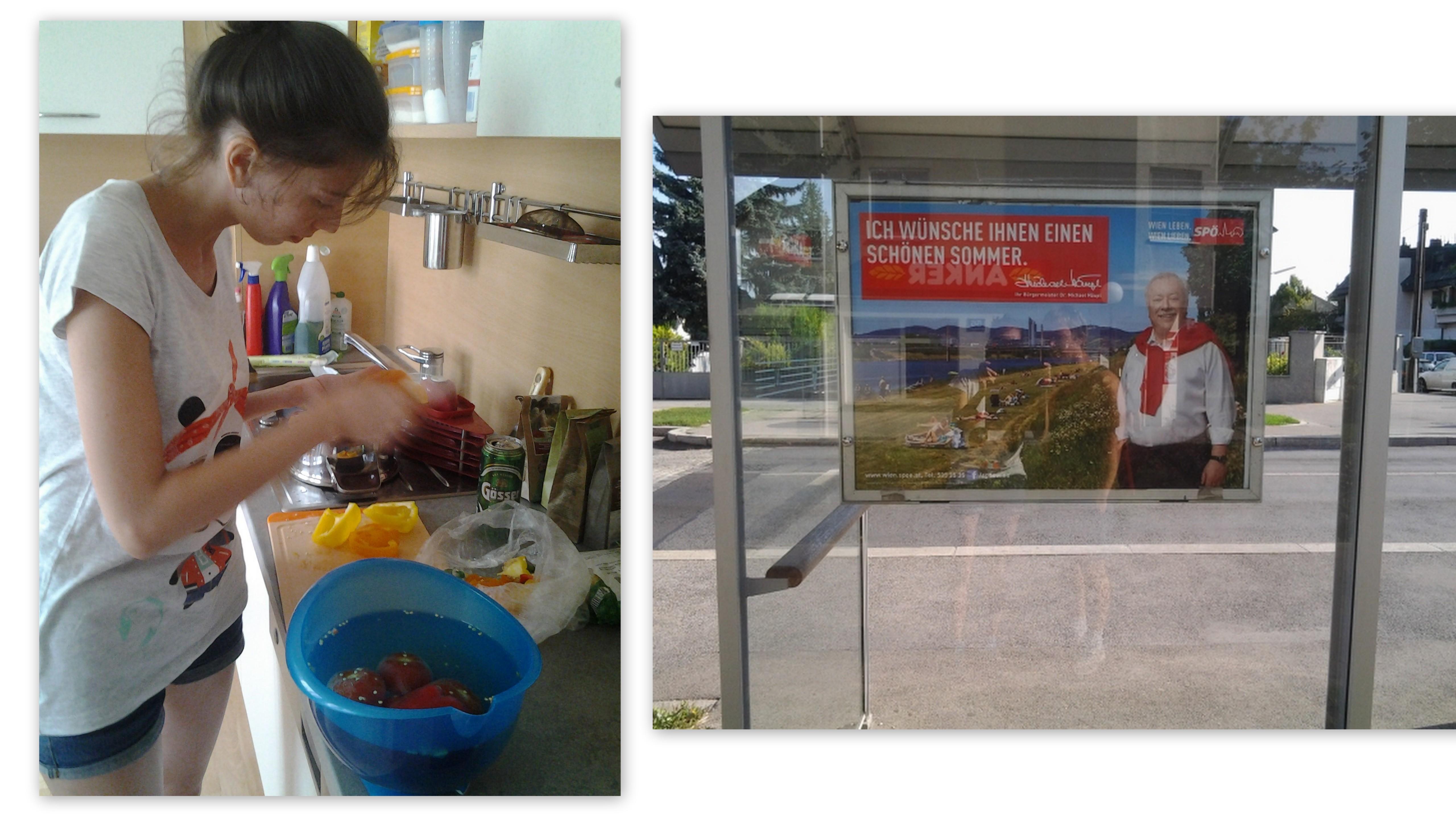 Слева- кухня Хоста, справа - мэр Вены в рекламе кока-колы.