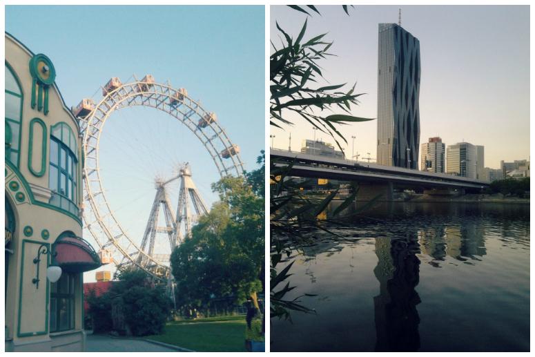 Вена, колесо, Дунай, вечер